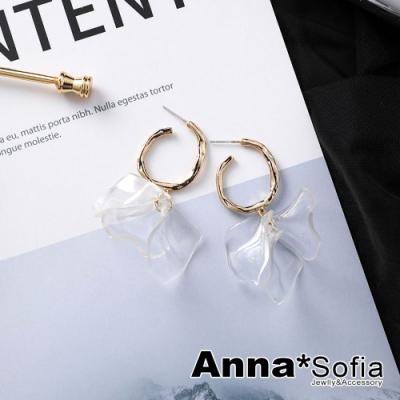【3件5折】AnnaSofia 透瓣不規則C型 925銀針耳釘耳針耳環(金系)