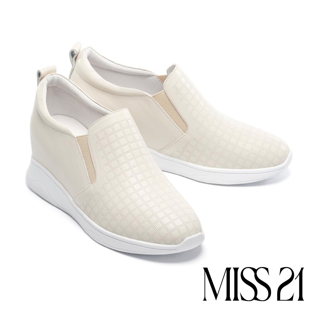 休閒鞋 MISS 21 質感日常全真皮內增高厚底休閒鞋-白