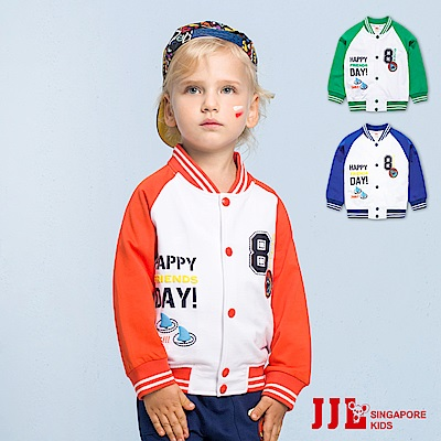 JJLKIDS 活力拼接純棉小立領棒球外套(3色)