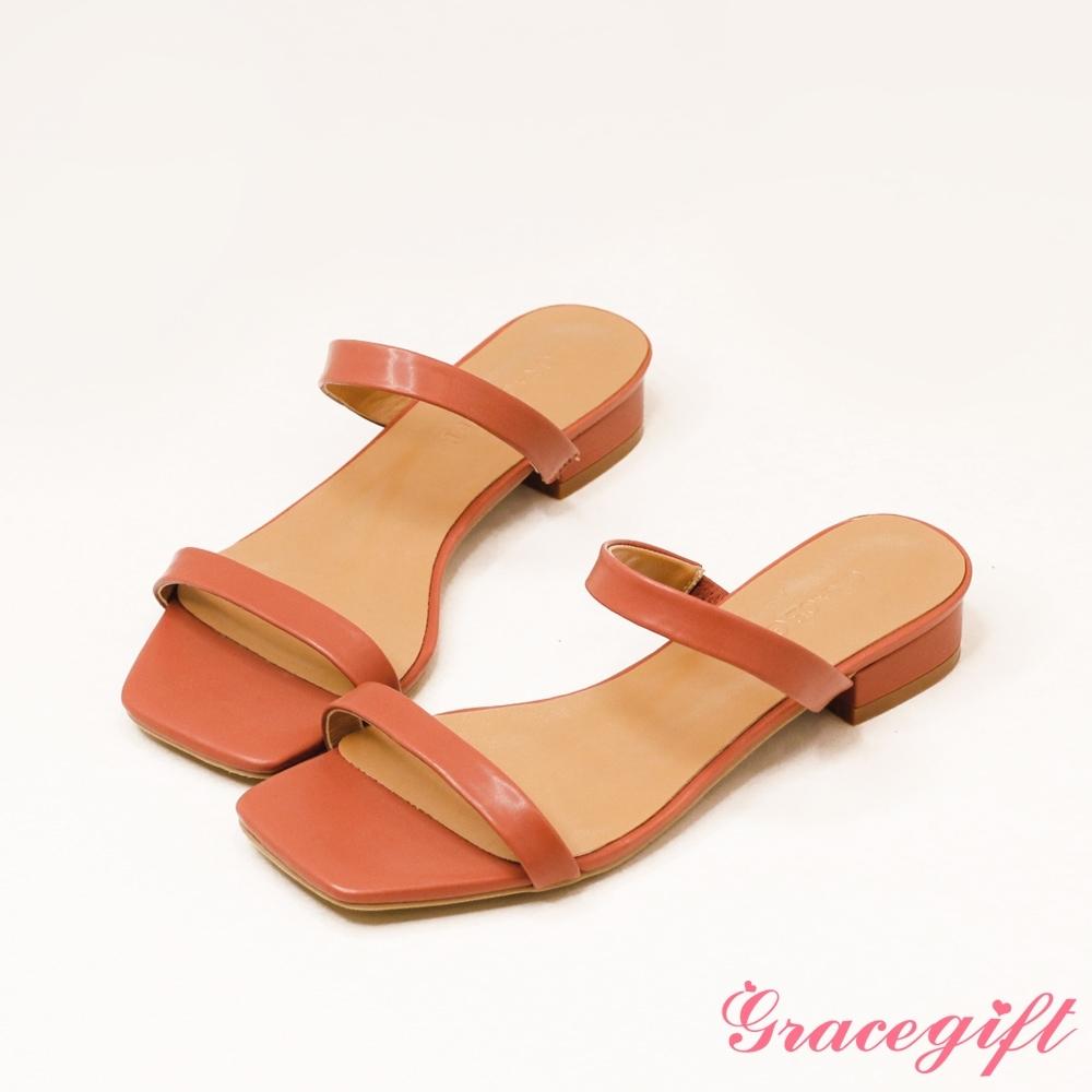 Grace gift-一字雙細帶低跟涼拖鞋 深粉