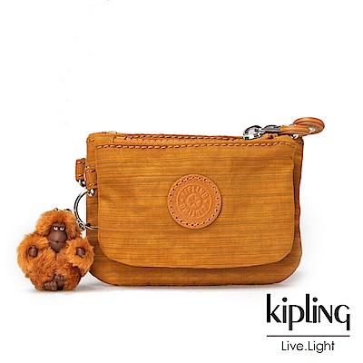 Kipling黃棕素面零錢包