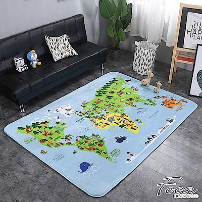 FOCA世界地圖  北歐簡約-100%云芙絨透氣多功能地墊-韓國設計(遊戲墊/床鋪墊)