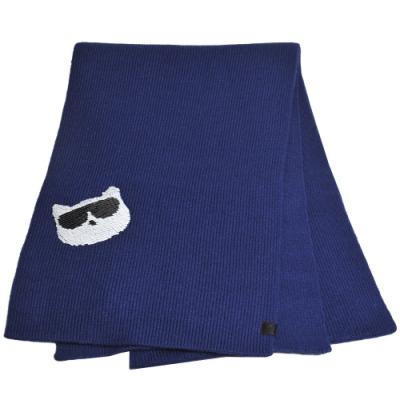 Karl Lagerfeld Paris 墨鏡貓亮片LOGO圖騰造型圍巾(深藍)