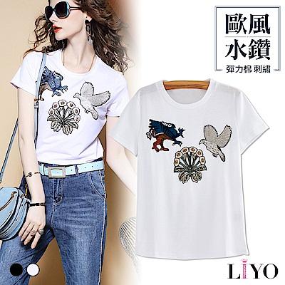 上衣-LIYO理優-歐洲水鑽刺繡貼布彈力修身透氣T恤