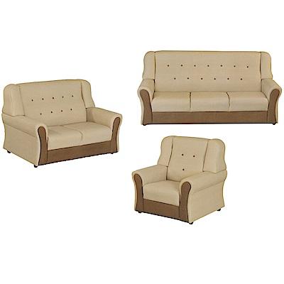 綠活居 隆尼雙色貓抓皮革沙發椅組合(1+2+3人座)