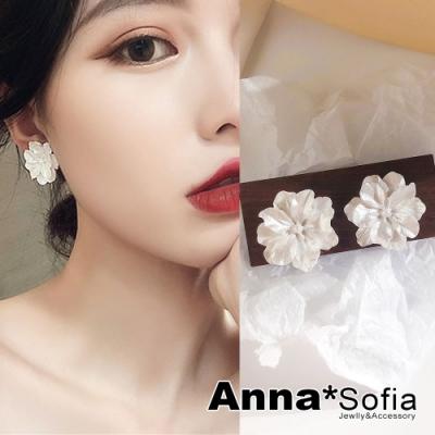 【3件5折】AnnaSofia 珠彩銀瓣花 925銀針耳針耳環(銀系)