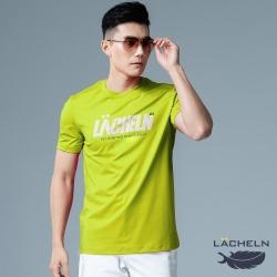 【LACHELN】抗UV吸排彈性印刷男圓領短T恤-L92MA06螢光綠