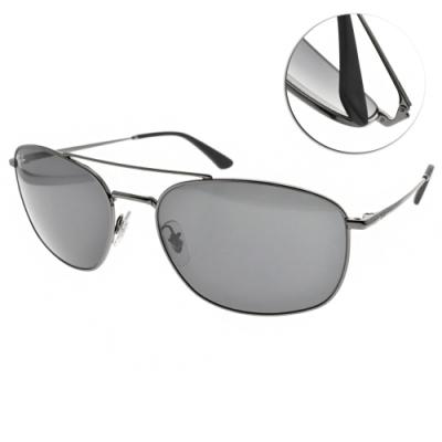 RAY BAN太陽眼鏡 個性飛行款/槍黑-藍#RB3654 00487