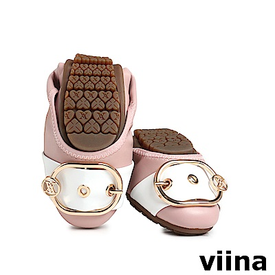 viina 皮帶釦撞色摺疊鞋MIT-粉橘