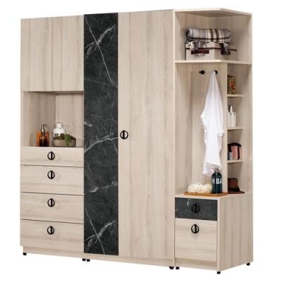 文創集 伊妮5.9尺衣櫃(左右二向可選+雙衣櫃+側邊櫃)-175.5x60.5x196cm免組