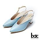 bac紐約不夜城-復古撞色深口粗跟後空高跟鞋-藍