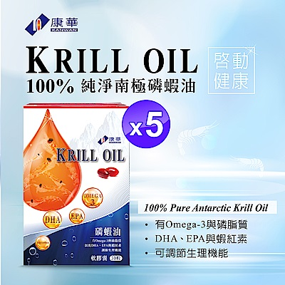 【康華】100%南極磷蝦油 軟膠囊(30顆入/盒調節生理機能X5盒)