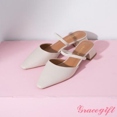 Grace gift-一字繫帶後空中跟鞋 米白