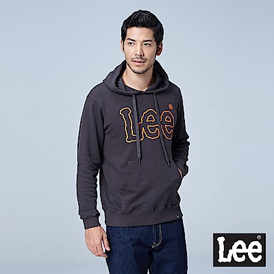 Lee 大LOGO連帽厚TEE/RG-深灰色