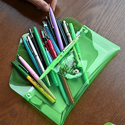PLEPIC 糖果螢光透明筆袋-霓虹綠