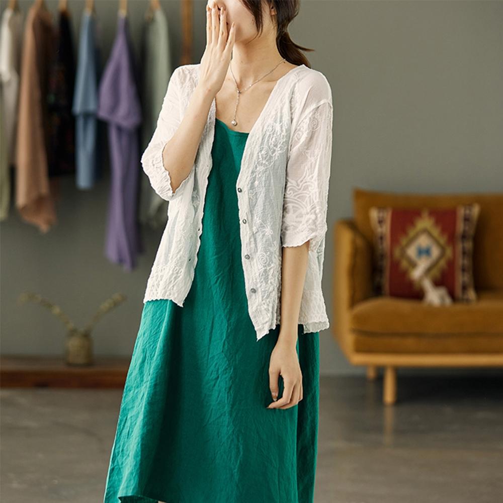 刺繡蕾絲V領防曬衣七分袖短外套二色可選-設計所在
