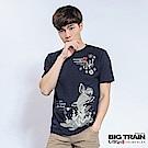 BIG TRAIN 櫻花鯉魚圓領T-男-深藍