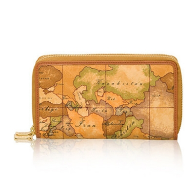 Alviero Martini 義大利地圖包 雙層拉鍊28卡長夾-地圖黃