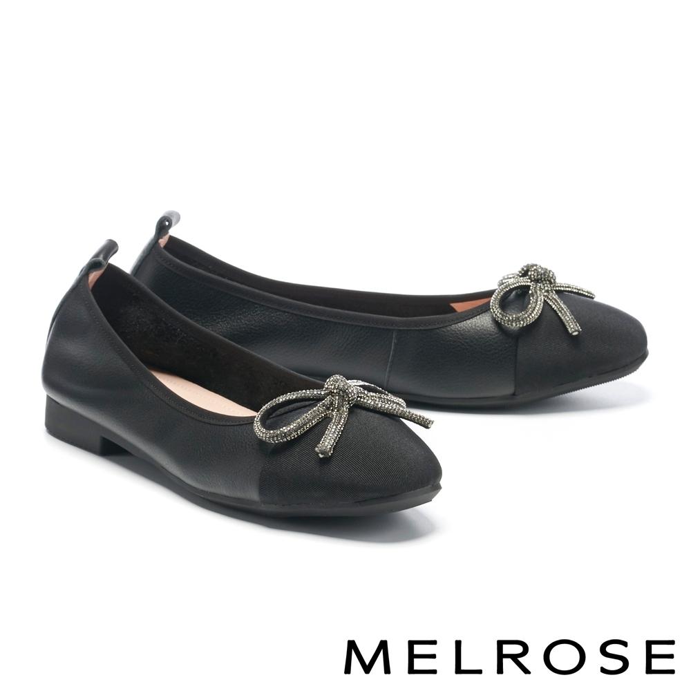 低跟鞋 MELROSE 氣質閃耀水鑽蝴蝶結牛皮方頭低跟鞋-黑