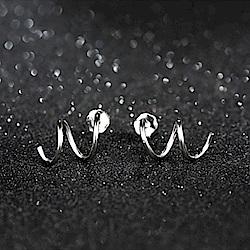 米蘭精品 925純銀耳環-波浪螺旋簡約耳環