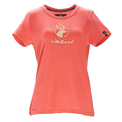 荒野【wildland】女彈性印花經典抗UV上衣蜜橘色