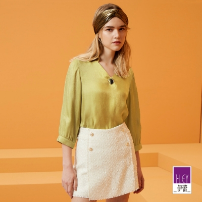 ILEY伊蕾 都會簡約V領素面襯衫(紫/黃)