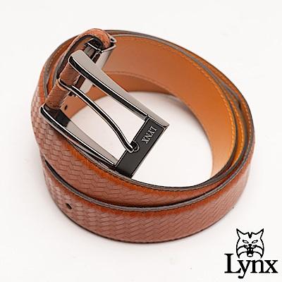 Lynx - 美國山貓編織壓紋男士真皮穿針式皮帶-棕色