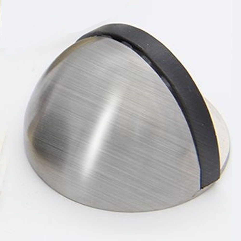 HF008 2入裝 薄型半圓固定式門檔/低門檔/橡膠戶擋/門止-銀色