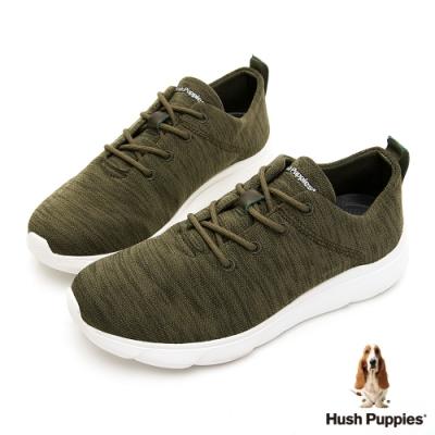 Hush Puppies 舒適針織休閒男鞋-墨綠