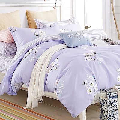 La Lune 台灣製100%40支精梳純棉雙人加大床包枕套三件組 幻紫衣裳