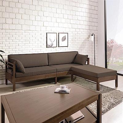 AS-柏格咖啡布淺胡桃實木L型木沙發組