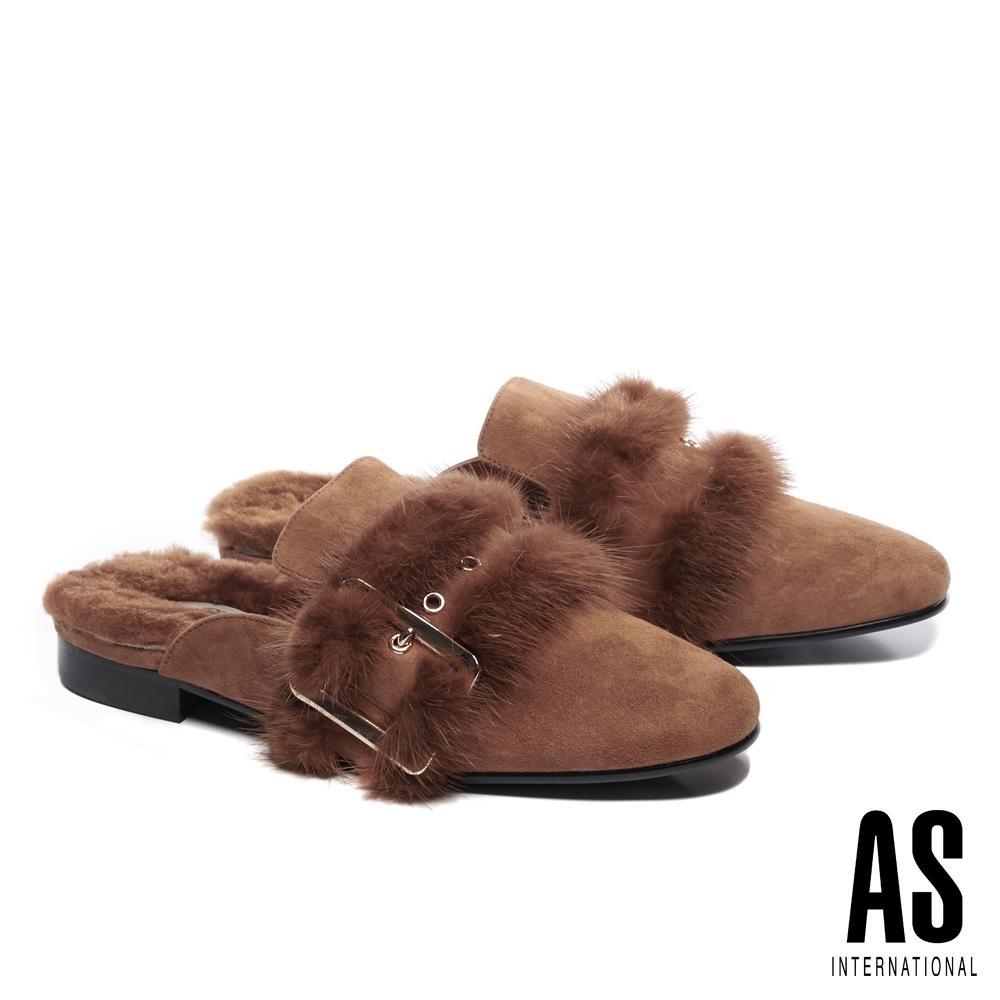 穆勒鞋 AS 時髦奢華感水貂毛皮帶全真皮低跟穆勒拖鞋-咖