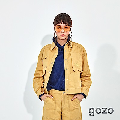 gozo 極簡純棉配色壓線直筒褲(二色)