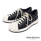 Tino Bellini 真皮拼接潮流圓沖孔厚底綁帶休閒鞋 _ 黑