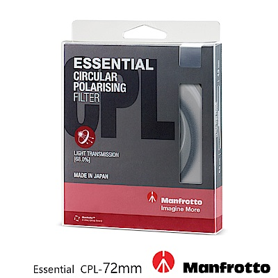 Manfrotto 72mm CPL鏡 Essential 濾鏡系列