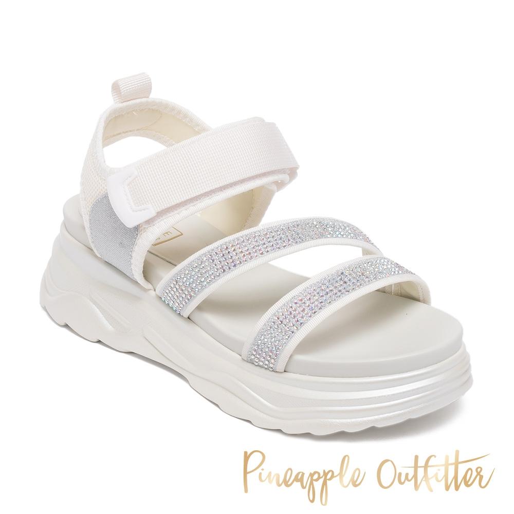 Pineapple Outfitter-LOANNIS 亮鑽魔鬼氈厚底涼鞋-白色