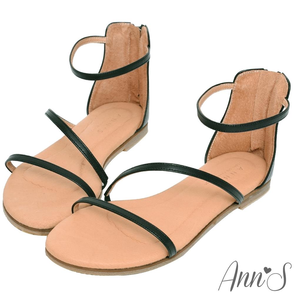 Ann'S黃金比例三條帶-頂級牛皮後拉鍊平底涼鞋(版型偏小)-黑