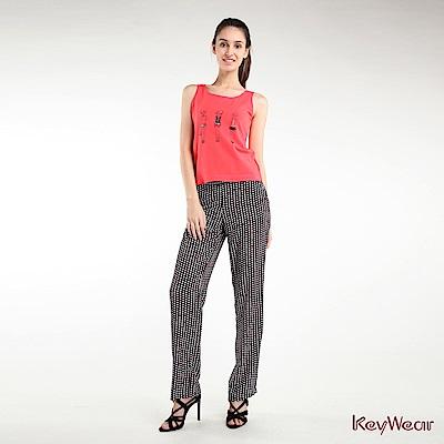 KeyWear奇威名品    趣味黑白紅圓點寬鬆褲-黑色