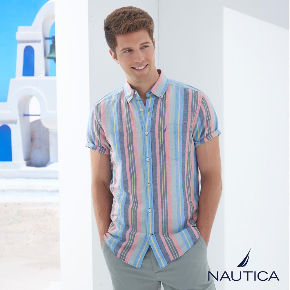 Nautica復古街頭條紋短袖襯衫