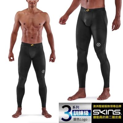 澳洲 SKINS 男款 3系列訓練級壓縮長褲.緊身彈力褲.運動壓力褲_黑