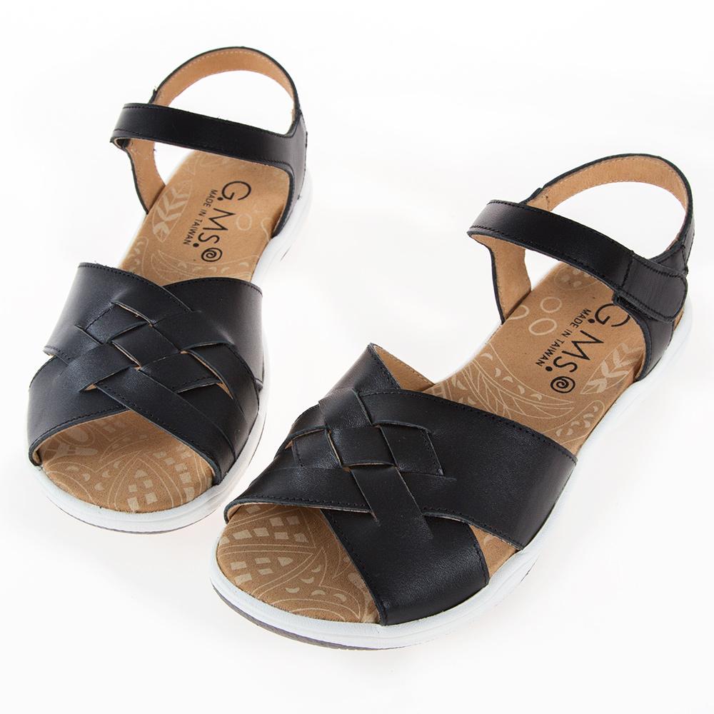 G.Ms. MIT系列-超輕量牛皮編織休閒厚底涼鞋-黑色