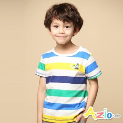 Azio 男童 上衣 挖土機刺繡彩色橫條紋短袖上衣(白)