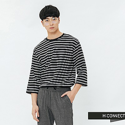 H:CONNECT 韓國品牌 男裝-滾邊五分袖條紋T-shirt-黑