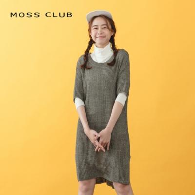 【MOSS CLUB】花紋針織素面長版-洋裝(三色)