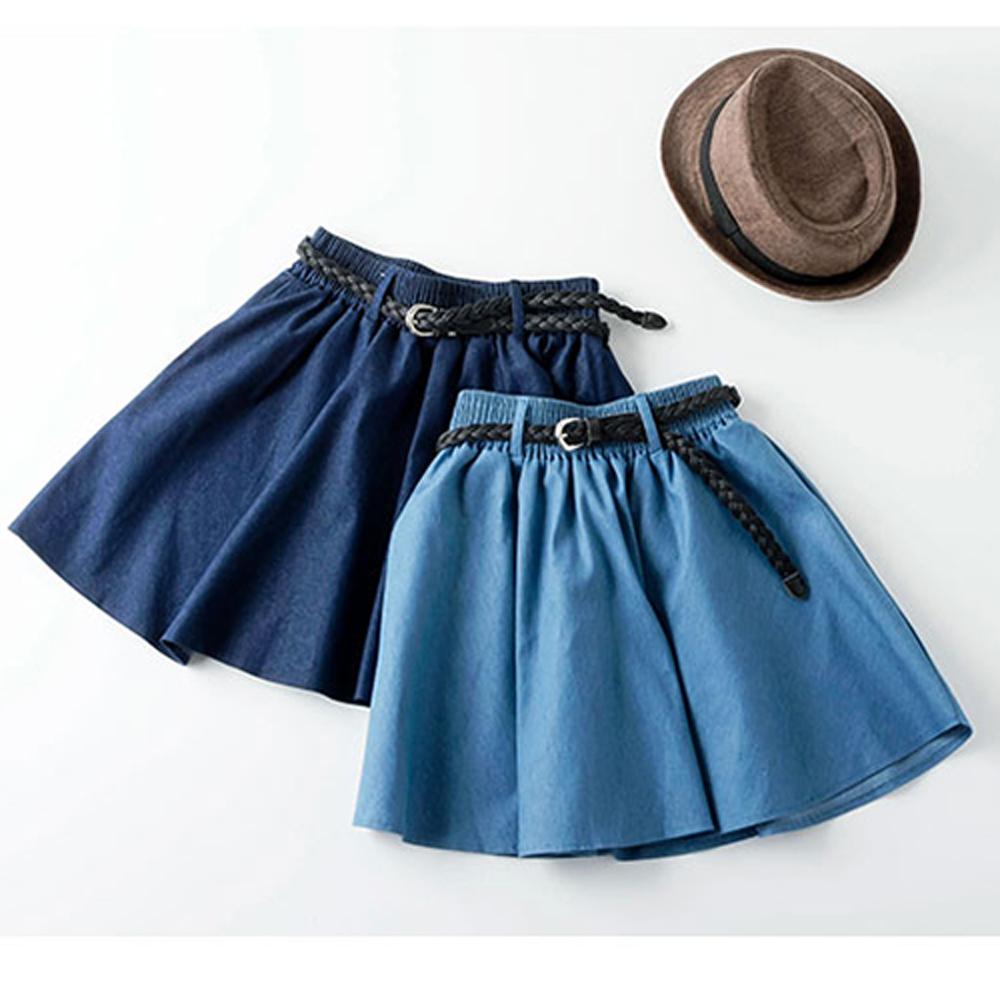 【韓國K.W.】超有型俏麗心采牛仔風短裙-2色