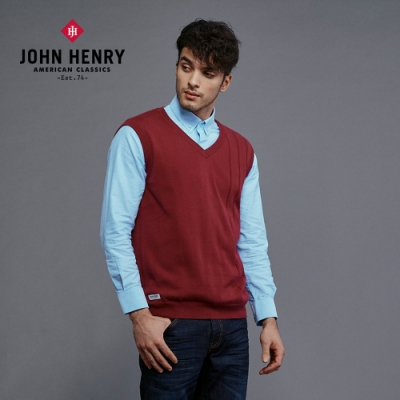 【JOHN HENRY】直條壓紋針織背心-兩色選