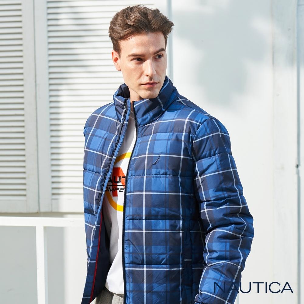 Nautica恆溫保暖科技羽絨格紋外套-藍