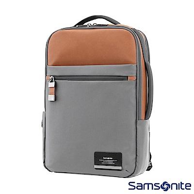 Samsonite新秀麗 Vestor商務保護隔層筆電後背包(灰/棕黃)