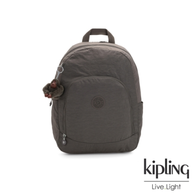 Kipling 極簡深卡其灰色前拉鍊後背包-CARMINE
