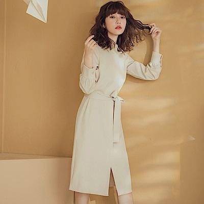純色襯衫領半開襟綁帶長袖中長洋裝-OB嚴選